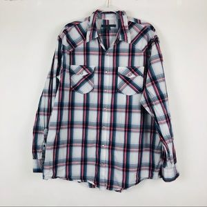 Old Navy | XXL | Gray Red Plaid Pearl Snap Shirt